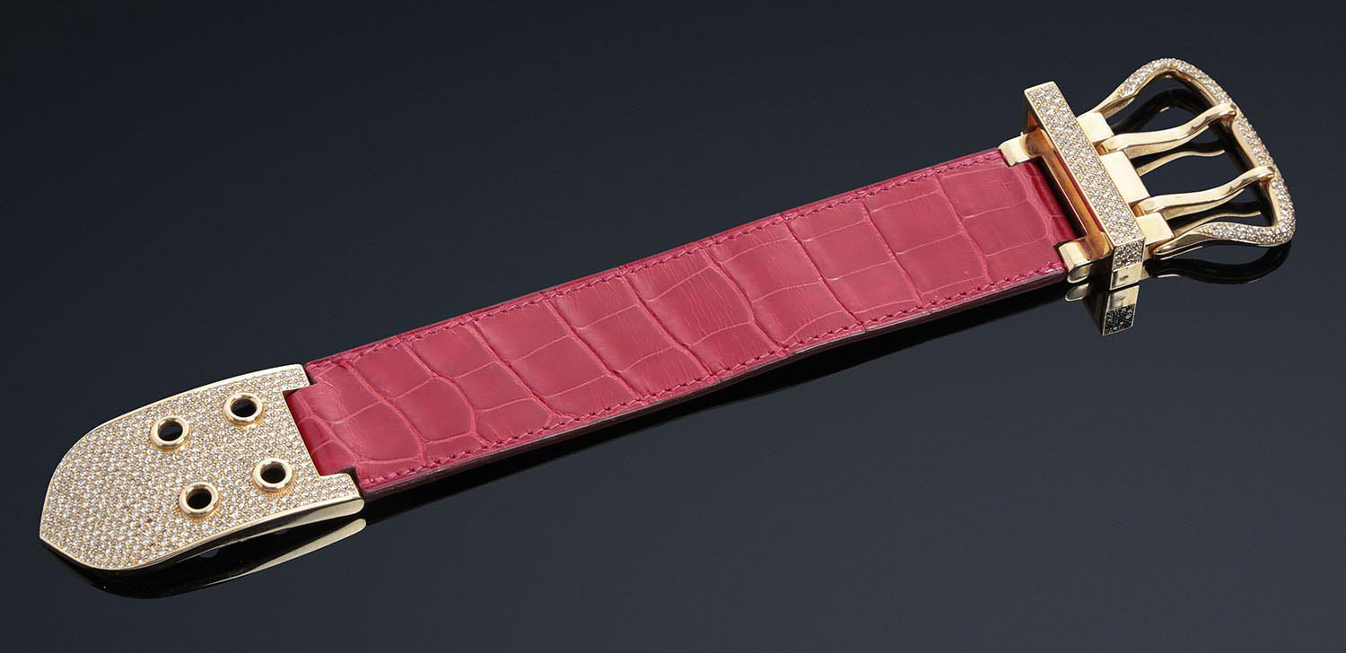 c37675d3f479 HERMES Paris made in France N°81721 Bracelet boucle Sellier TGM en or rose