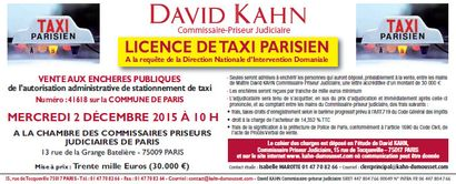 LICENCE DE TAXI PARISIEN A la requête de la Direction Nationale d'Intervention Domaniale