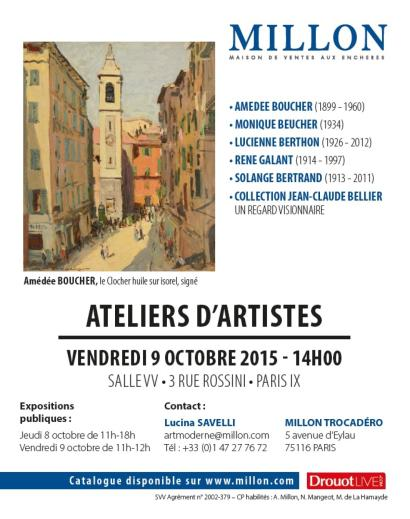 ATELIERS D'ARTISTES - Amédée BOUCHER –  René GALANT – Solange BERTRAND – Lucienne BERTHON – Monique BEUCHER - Collection Jean-Claude Bellier