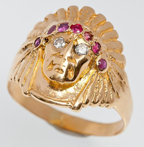bague or tete indien