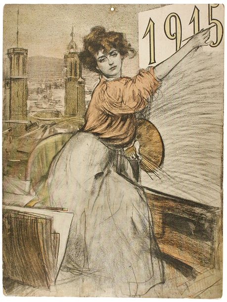Calendario 1915.Vente Aux Encheres 1915 Cartel Ramon Casas Cartel