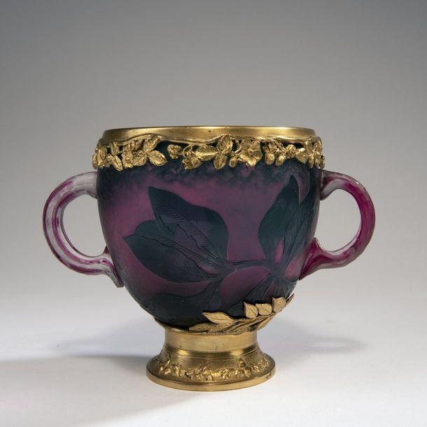 Daum Freres, Nancy, 'Hellebores' Martele vase with handles, gilded mounting, c. 1898…