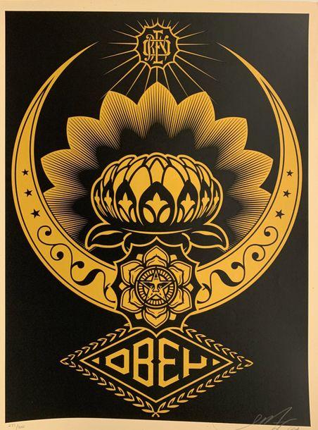 SHEPARD FAIREY (OBEY GIANT DIT) (NE EN 1970) LOTUS OR ET NOIR, 2008 Offset en couleurs…