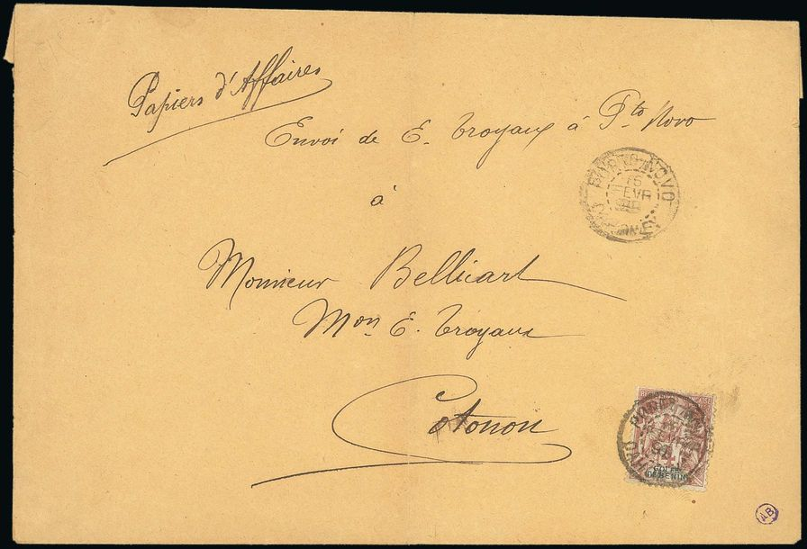 x Dahomey Benin 1899 (6 Feb.) envelope endorsed Papiers d'affaires to Cotonou, x…