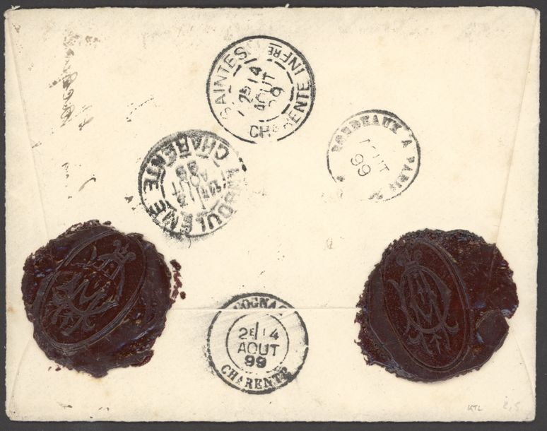 x Dahomey Benin 1899 (16 July) envelope registered to Charente, redirected to Saintes,…