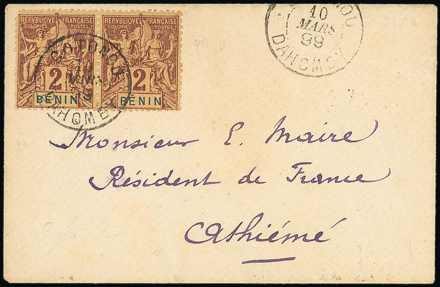 x Dahomey Benin Small Village Use Cotonou: 1899 (10 March) small envelope franked…