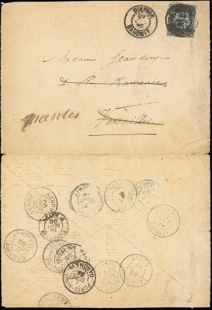 x Dahomey Benin Small Office Use Diapaga: 1899 (29 July) opened out envelope to Versailles,…