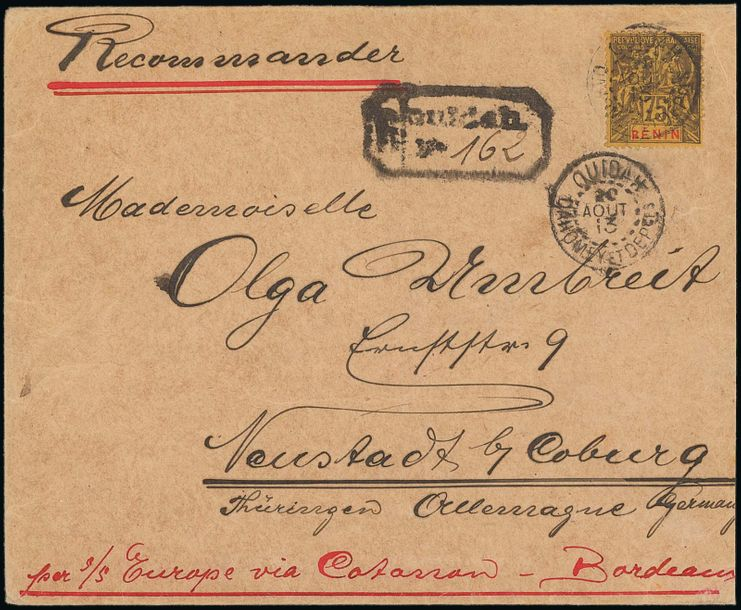 x Dahomey Benin Small Village Use Oudiah: 1913 (20 Aug.) envelope registered to Germany…