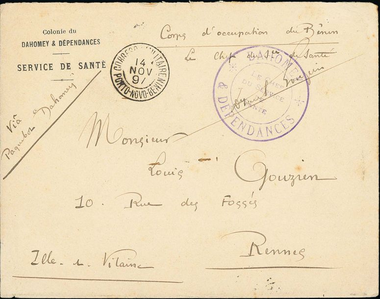 x Dahomey Benin Military Concession 1897 (14 Nov.) stampless envelope endorsed Corps…