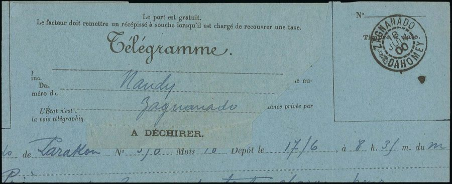 x Dahomey Dahomey and Dependencies 1900 (18 June) blue Télégramme form from Parakou…