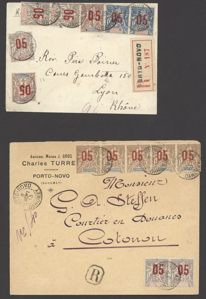 x Dahomey Dahomey and Dependencies 1903-13 five envelopes and a card, all registered…