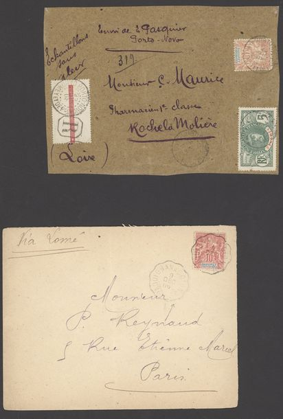 x Dahomey Dahomey and Dependencies 1904-16, three covers, a front and a card, including…