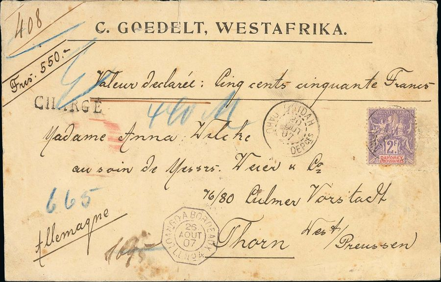 x Dahomey Dahomey and Dependencies 1907 (20 Aug.) large Declared Value (550Fr.) envelope…