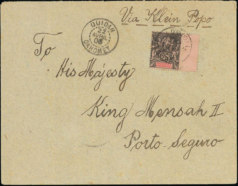x Dahomey Dahomey and Dependencies Small Village Use Ouidah: 1903 (22 April) envelope…