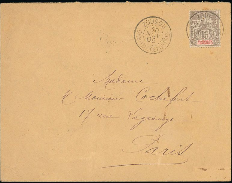 x Dahomey Dahomey and Dependencies Small Village Use Zougou: 1905 (30 Nov.) envelope…