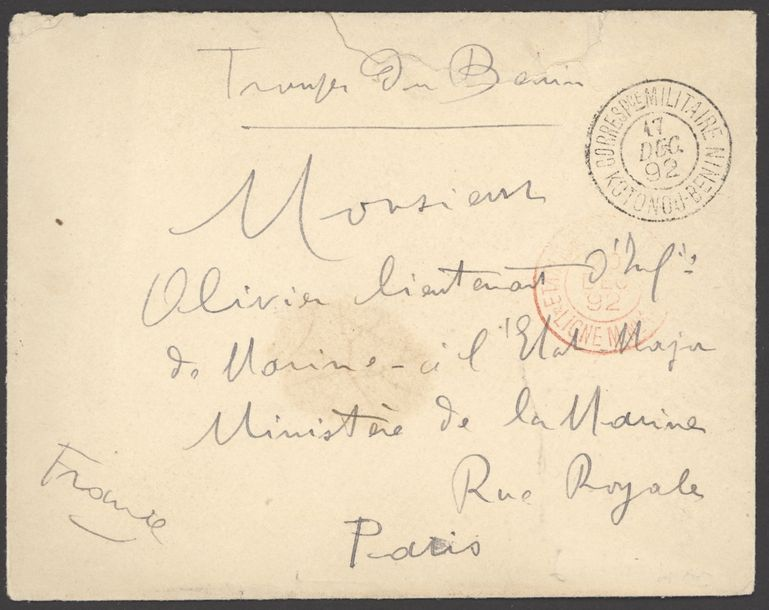 x Dahomey Dahomey and Dependencies Military Concession 1892-1904 five stampless covers,…