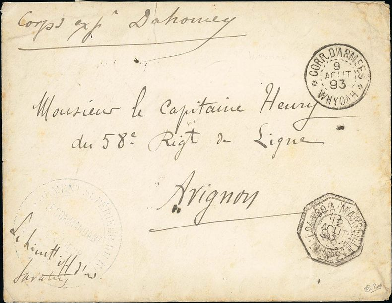 x Dahomey Dahomey and Dependencies Military Concession 1893 (9 Aug.) stampless envelope…
