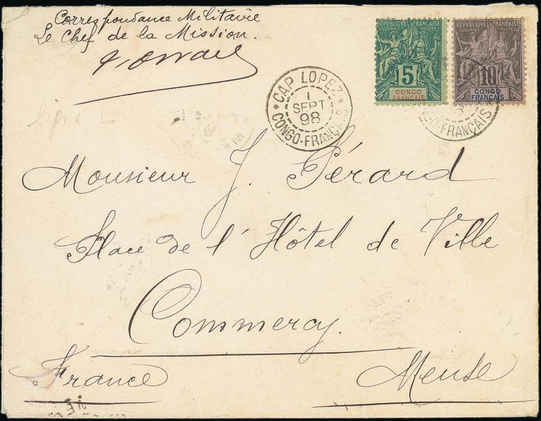 x French Congo Small Village Use Cap Lopez: 1898 (1 Sept.) envelope to Commercy,…