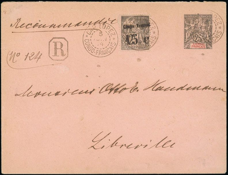 x French Congo Small Village Use Cap Lopez: 1905 (5 June) 25c. postal stationery…