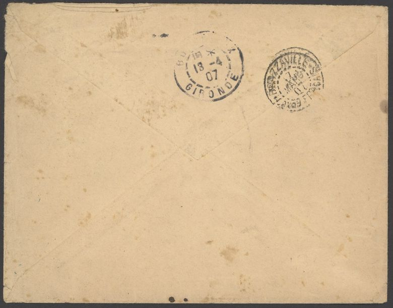 x French Congo Small Village Use Carnot: 1907 (25 Feb.) envelope to Gironde franked…
