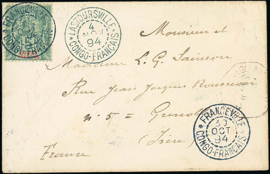 x French Congo Small Village Use Franceville: 1894 (30 Oct.) envelope to Grenoble…