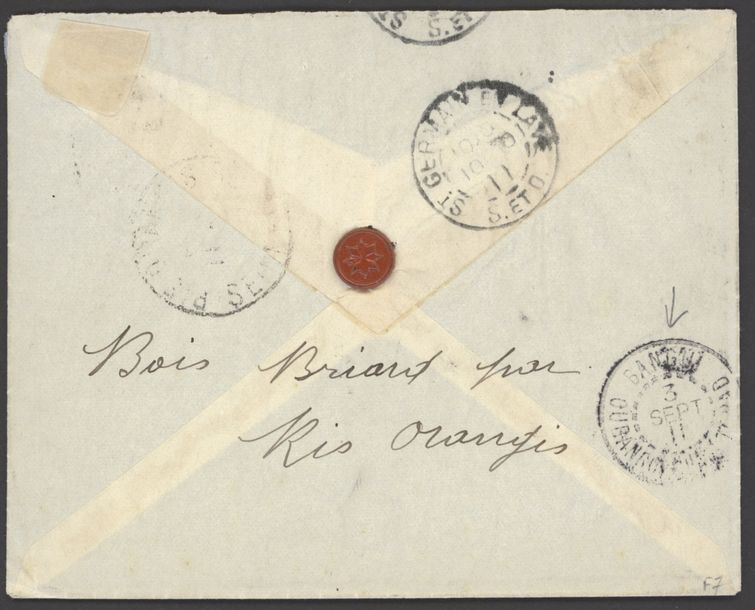 x French Congo Small Village Use Mobaye: 1911 (29 Aug.) envelope to Seine et Oise…