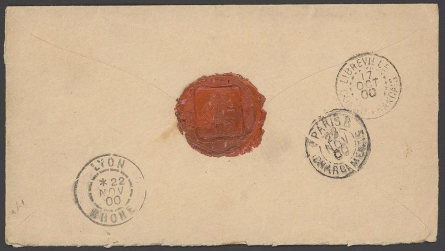 x French Congo Small Village Use N'Dombo: 1900 (6 Oct.) envelope registered to Lyon…
