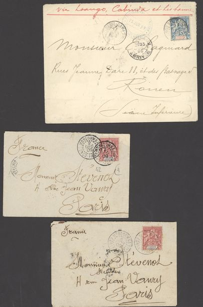 x French Congo Small Village Use 1897 1910, selection of twelve envelopes and a card,…