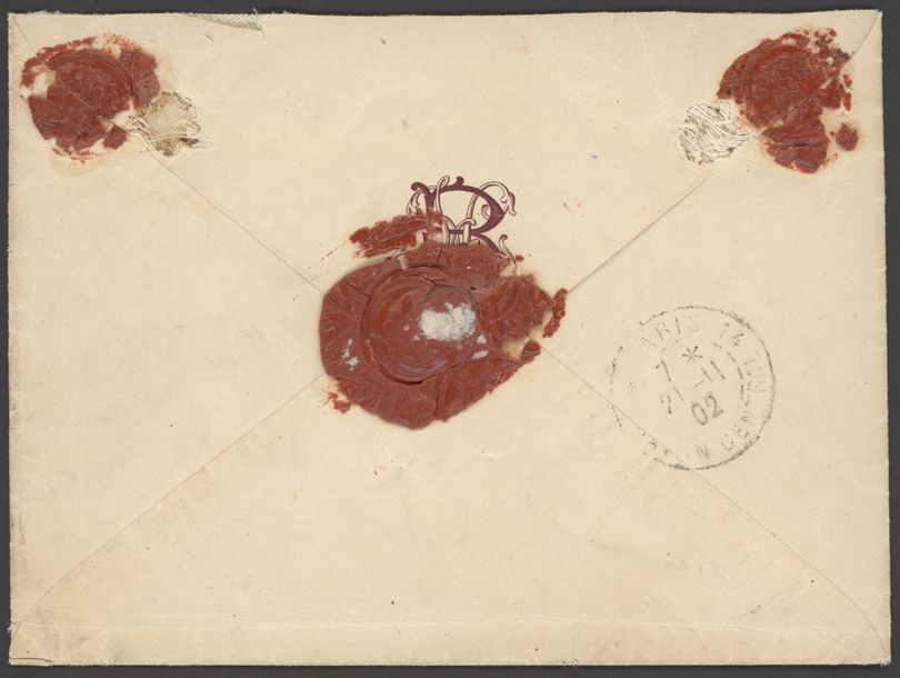 x French Congo Military Concession 1902 (15 Oct.) stampless envelope to Paris, endorsed…