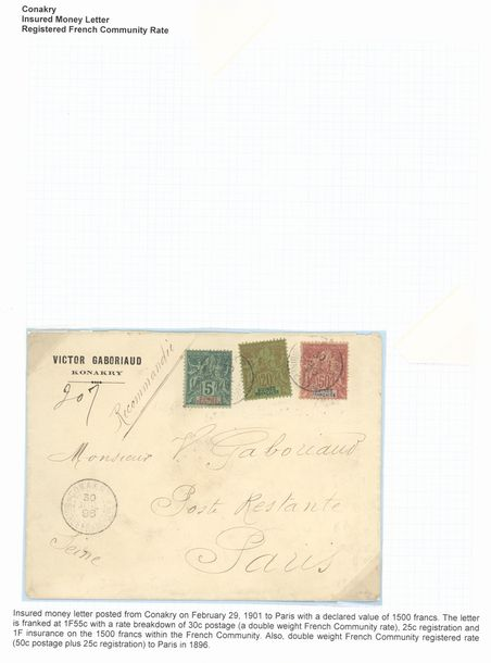 x French Guinea 1894-1904, selection of ten items, including 1895 25c. postal stationery…