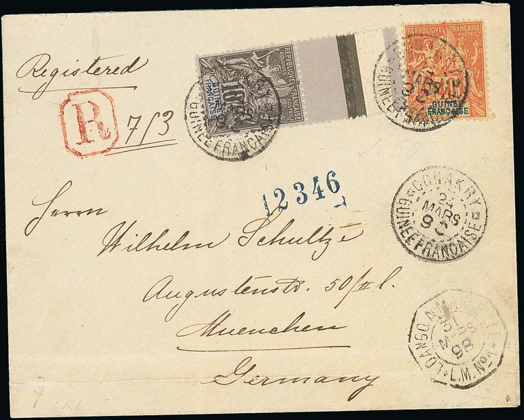 x French Guinea 1898 (24 March) envelope registered to Munich, franked 10c. and 40c.…