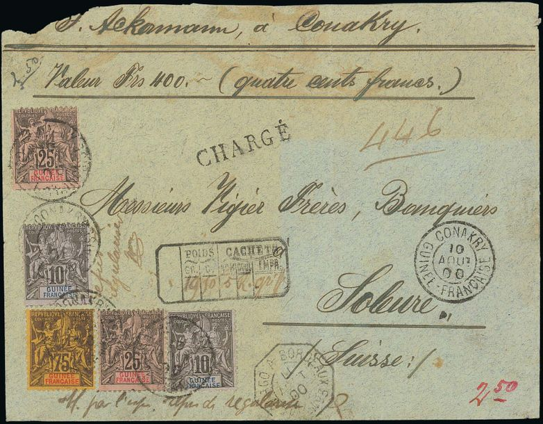 x French Guinea 1900 (10 Aug.) Insured money letter for 400Fr. to Switzerland franked…