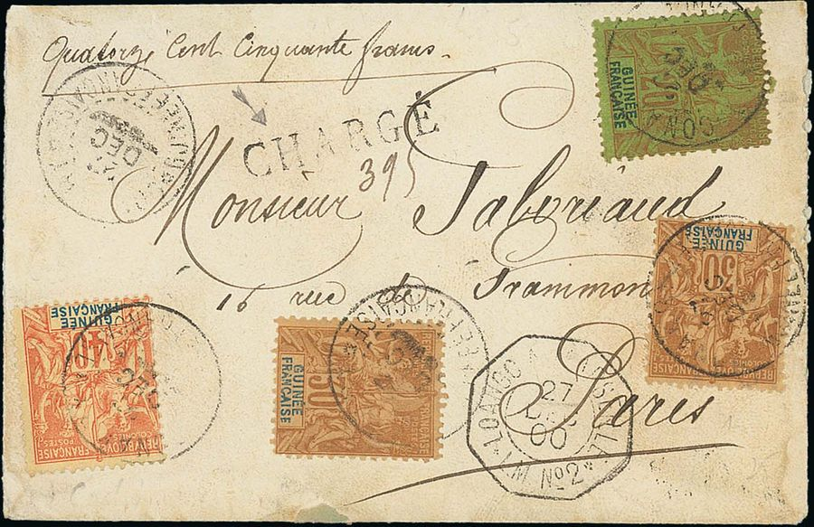 x French Guinea 1900 (27 Dec.) opened out Insured Money letter to Paris franked 20c.,…