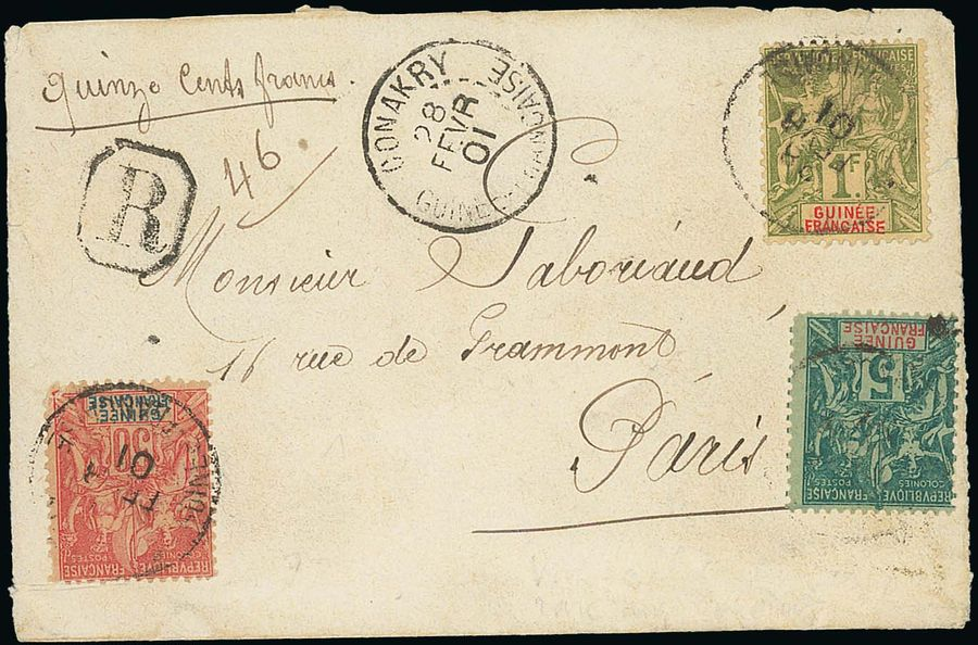 x French Guinea 1901 (28 Feb.) opened out envelope registered to Paris, x French…
