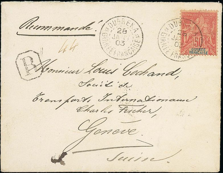 x French Guinea Small Village Use Dubreka: 1903 (28 Jan.) envelope registered to…