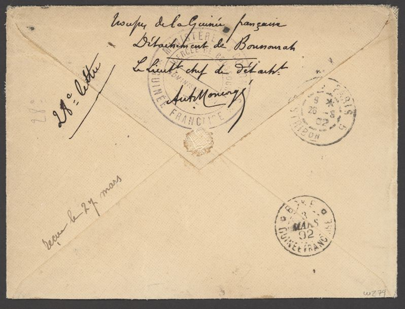 x French Guinea Small Village Use Kade: 1902 (27 Feb.) stampless envelope to Paris,…
