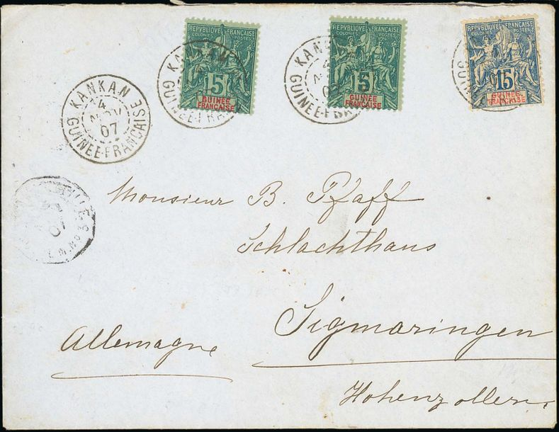 x French Guinea Small Village Use Kankan: 1907 (4 Nov.) envelope to Germany franked…