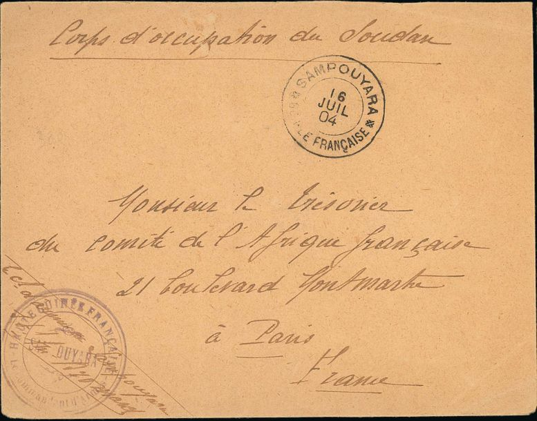 x French Guinea Small Village Use Sampouyara: 1904 (16 July) stampless envelope to…
