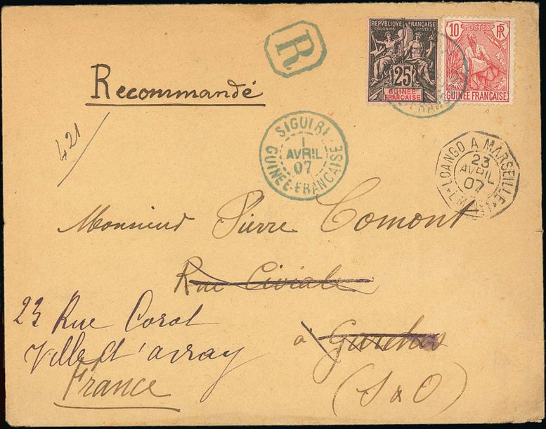x French Guinea Small Village Use Siguiri: 1907 (1 April) envelope (with enclosure)…