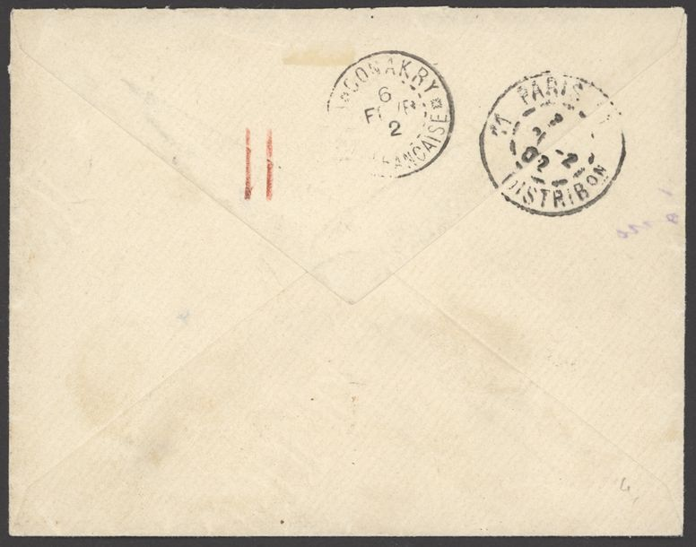 x French Guinea Small Village Use Timbo: 1902 (28 Jan.) envelope to Paris franked…