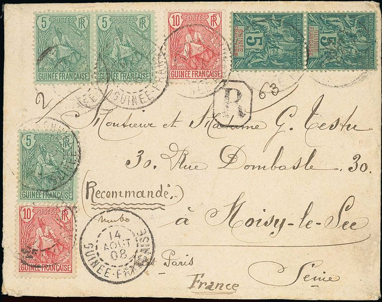 x French Guinea Small Village Use Timbo: 1908 (14 Aug.) envelope registered to Paris…