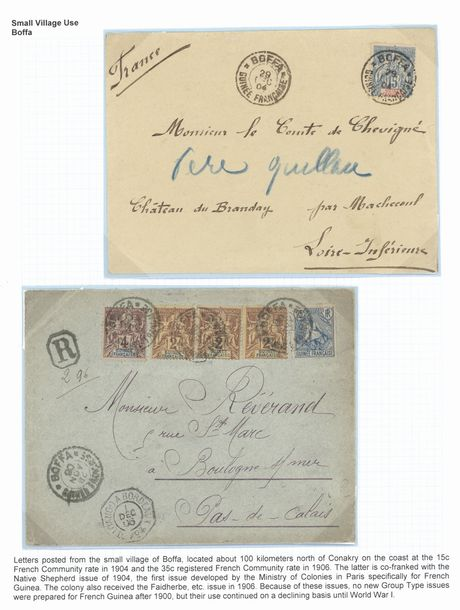 x French Guinea Small Village Use 1895-1914, collection of eighteen covers, origins…