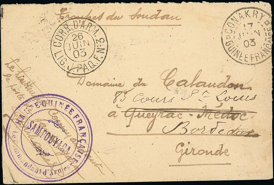 x French Guinea Military Concession Rate 1903 (17 June) stampless envelope to Gironde,…