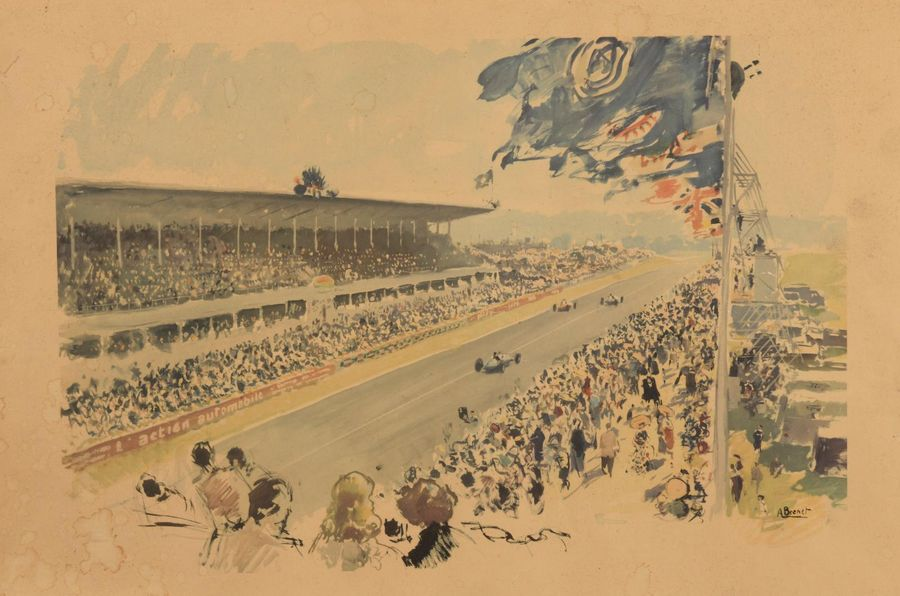 Albert BRENET (1903-2004) Grand Prix, circuit de Reims Lithographie en couleurs,…