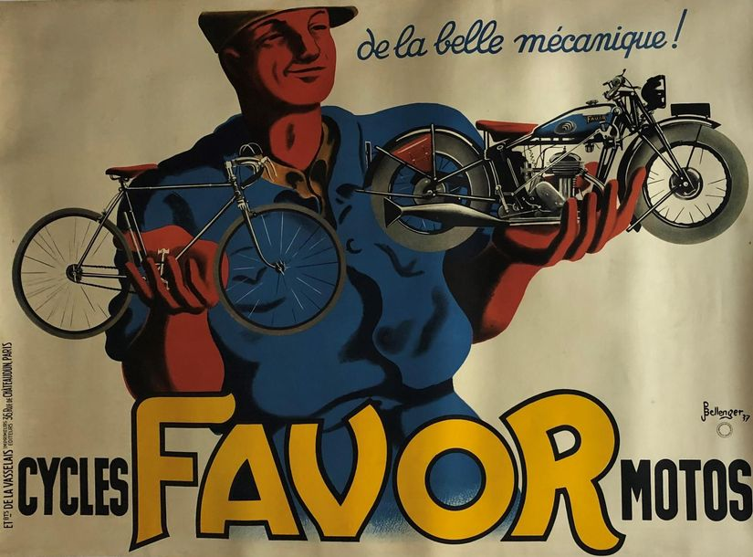 "FAVOR cycles-motos ""de la belle mécanique !"" P. Bellanger, 1937 Ets de la Vasselais…"