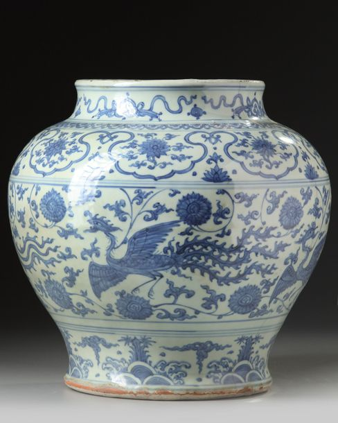 A Chinese blue and white 'phoenix' jar A Chinese porcelain jar, decorated with phoenix…