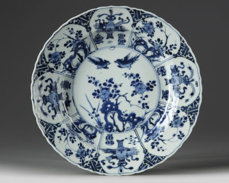 A Chinese blue and white soup dish The centre of the soup dish is decorated with…