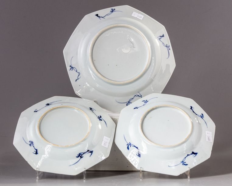 Three Chinese blue and white octagonal dishes Three octagonal porcelain dishes, decorated…