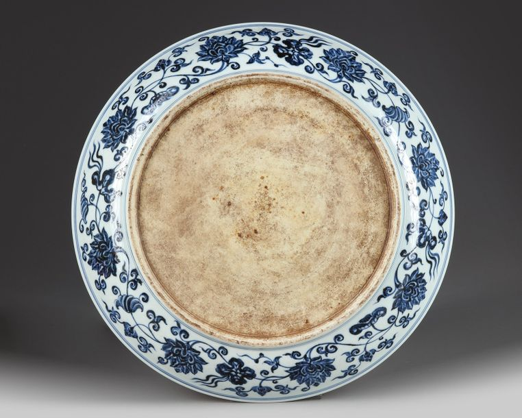 A Chinese blue and white charger A Chinese porcelain charger, decorated in cobalt…