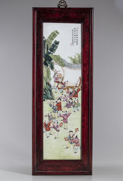 A Chinese porcelain famille rose plaque A Chinese rectangular porcelain plaque, enamelled…